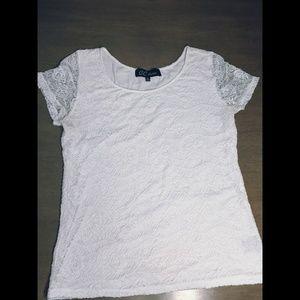 Lace White Blouse Size L
